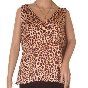 SALE Talbots Silk Cheetah v neck Blouse Size 16
